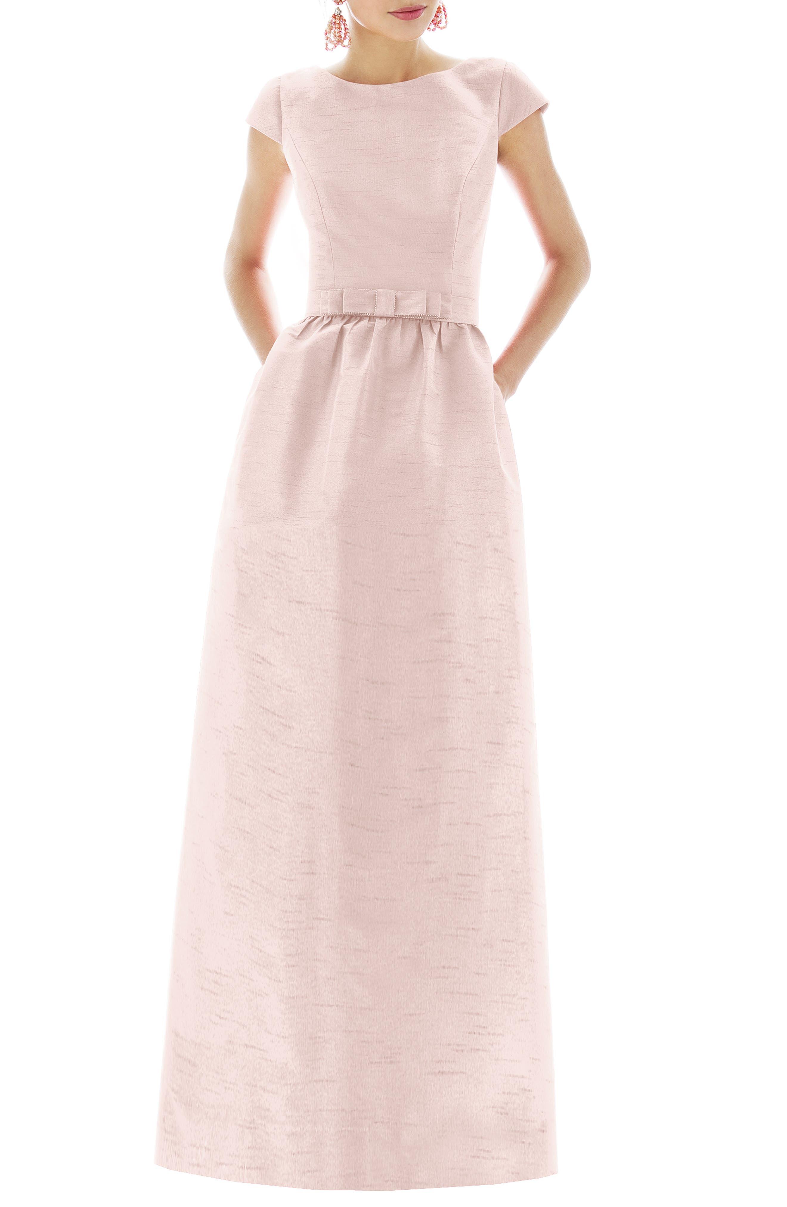 Alfred Sung Cap Sleeve Dupioni Full Length Dress, Pink