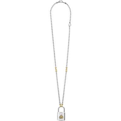 Lagos Beloved Large Lock Two-Tone Pendant Necklace