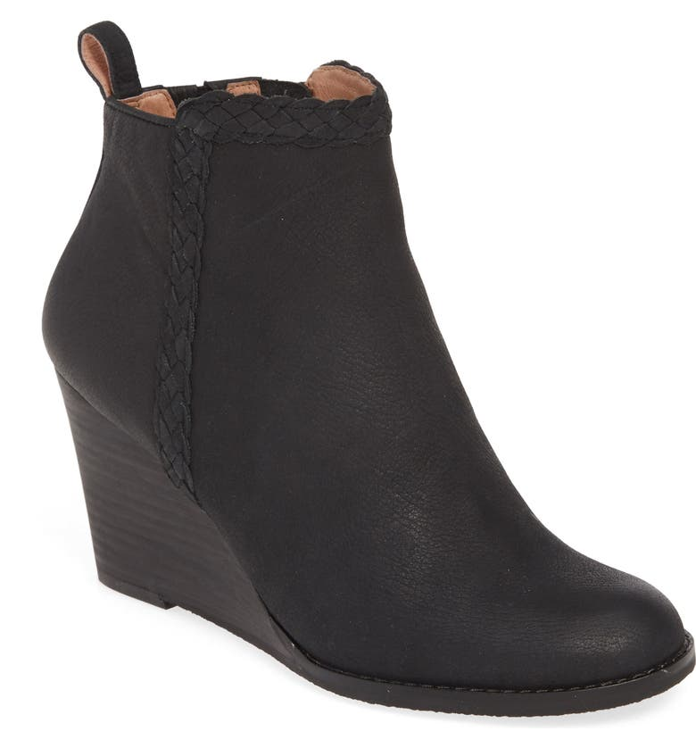 CASLON<SUP>®</SUP> Whitney Wedge Bootie, Main, color, BLACK NUBUCK