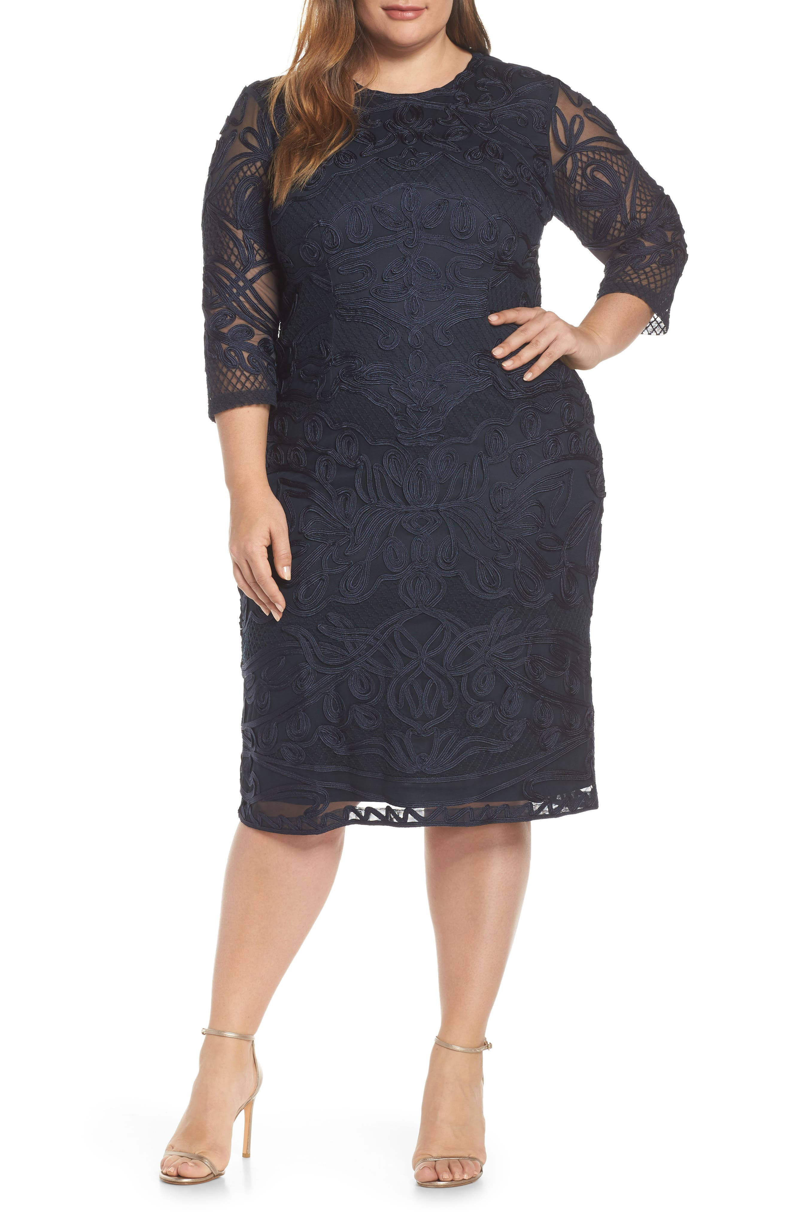 ,                             Soutache Sheath Dress,                             Main thumbnail 7, color,                             410