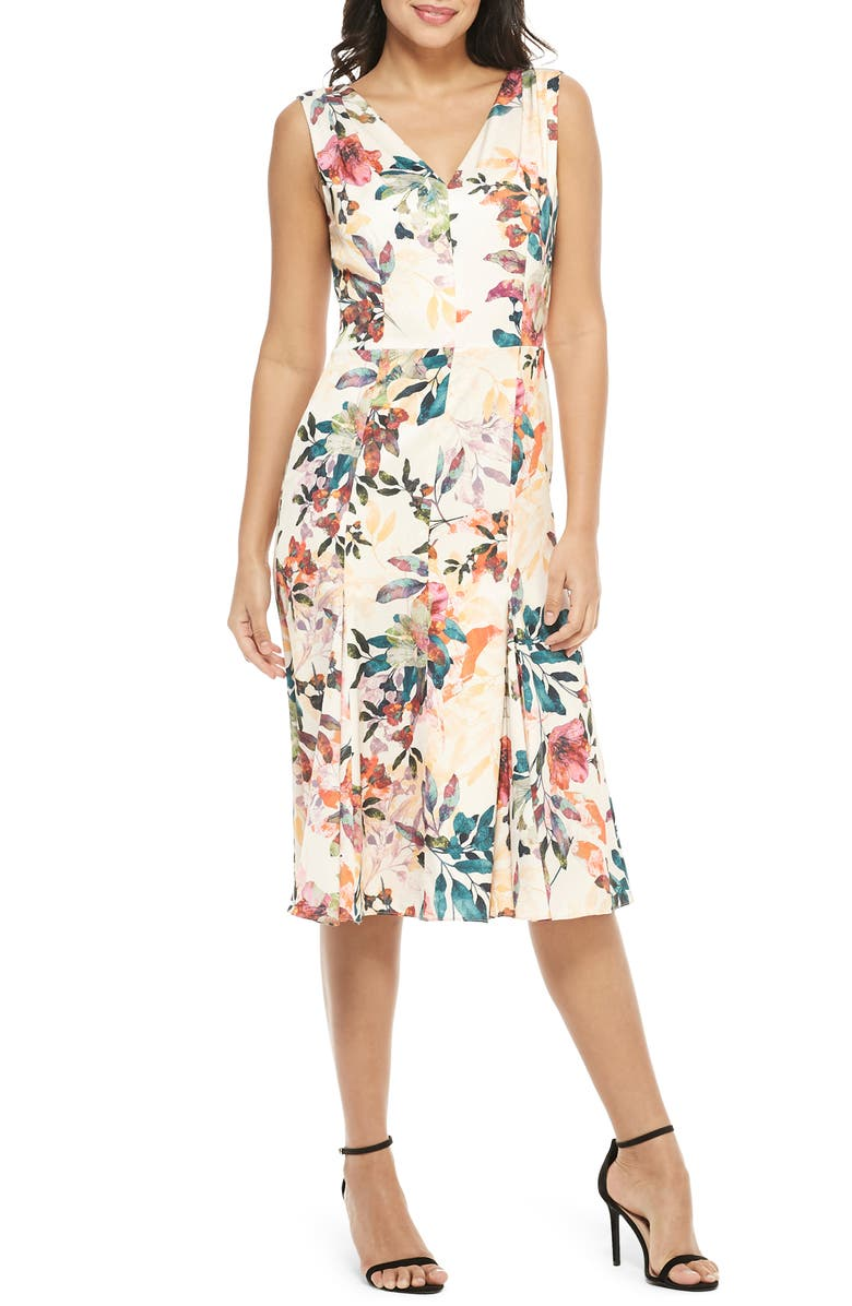 MAGGY LONDON Sleeveless Floral Print Charmeuse Dress, Main, color, CHAMPAGNE/ BRIGHT ORANGE