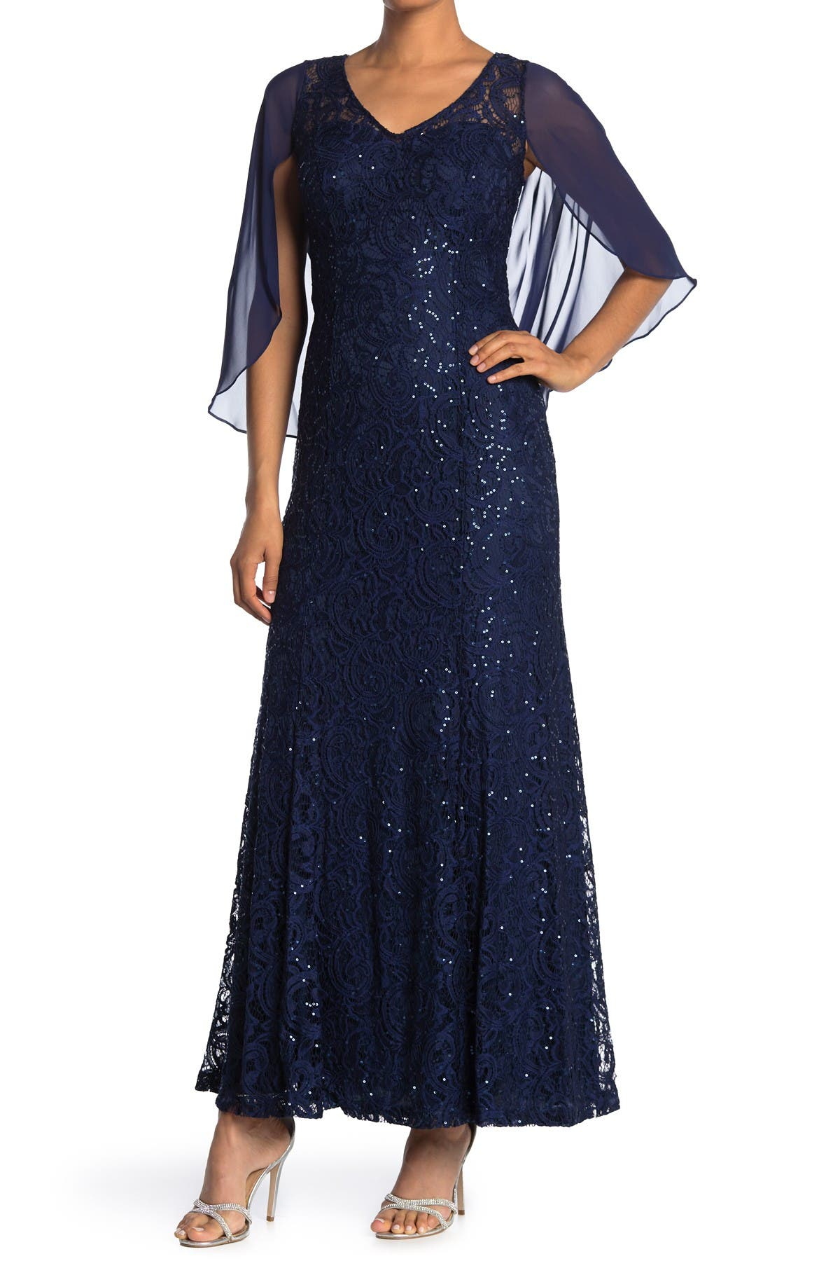 Image of Ignite V-Neck Sequin Lace Gown