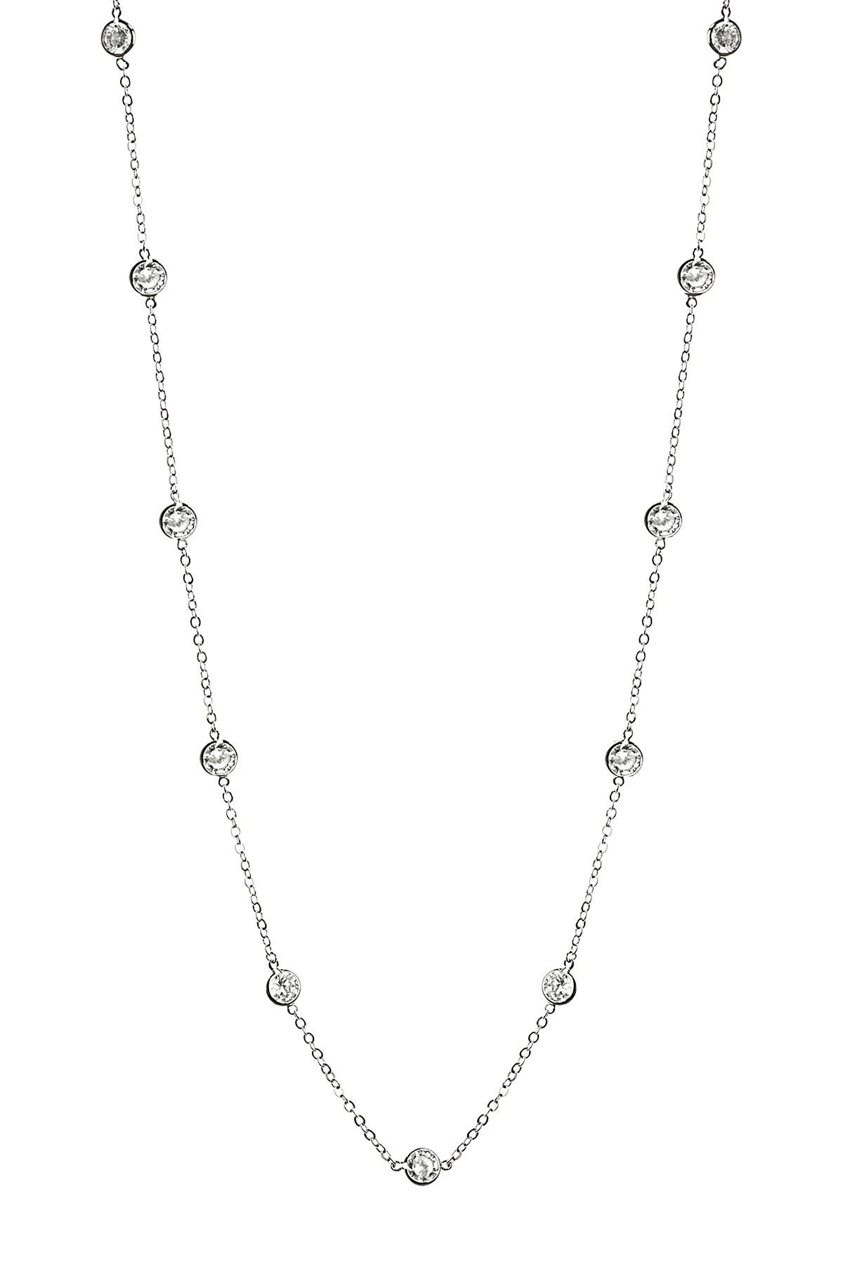 """Image of CZ By Kenneth Jay Lane Round CZ Station 36"""" Necklace"""