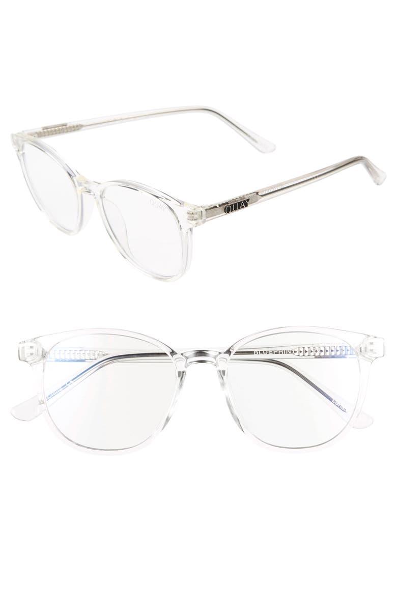 QUAY AUSTRALIA Blueprint 48mm Blue Light Blocking Glasses, Main, color, CLEAR/ CLEAR BLUE LIGHT