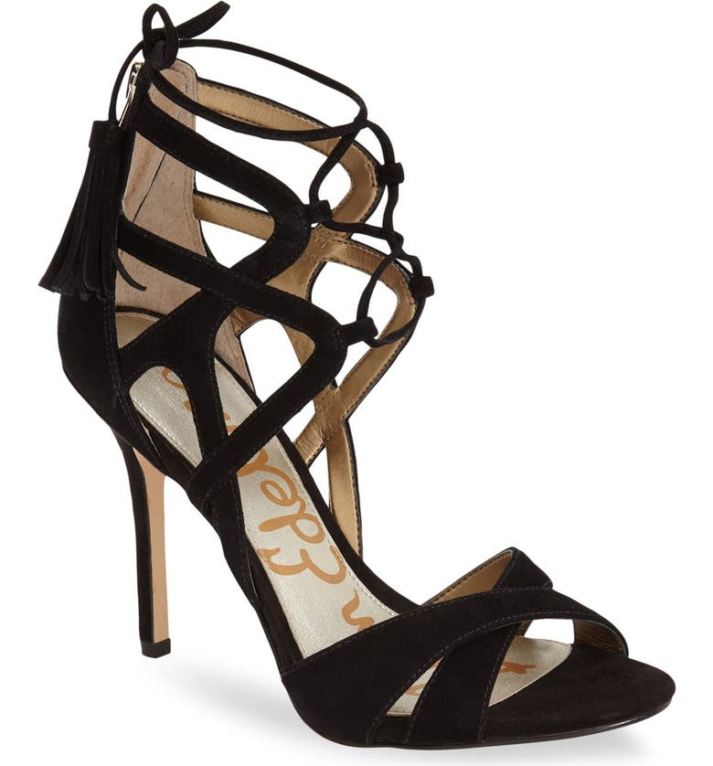 SAM EDELMAN 'Azela' Tasseled Lace-Up Sandal, Main, color, 001