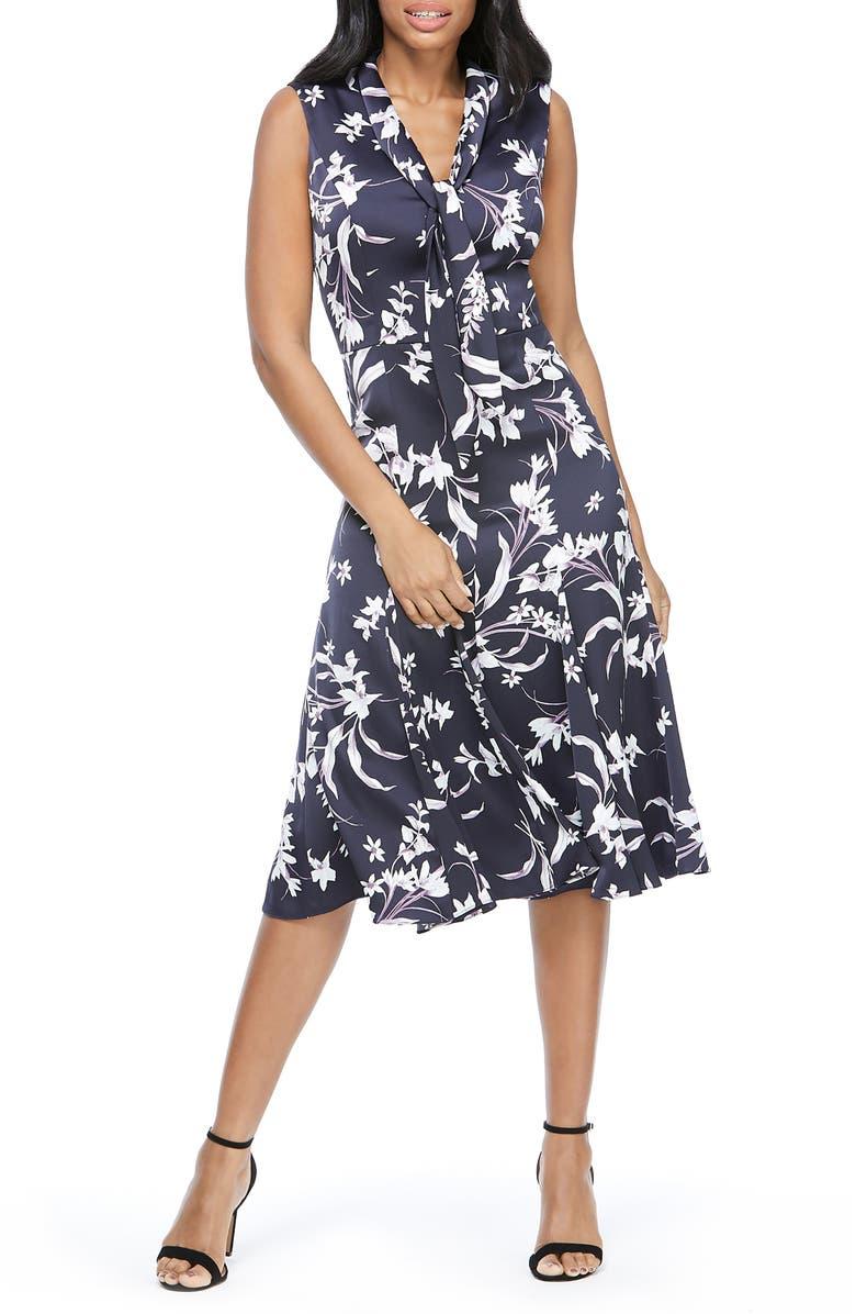 MAGGY LONDON Floral Print Tie Neck Satin A-Line Dress, Main, color, NAVY/ LAVENDER