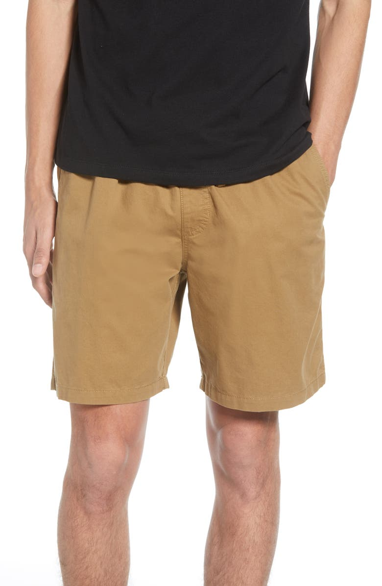 VANS Range Drawstring Twill Shorts, Main, color, DIRT
