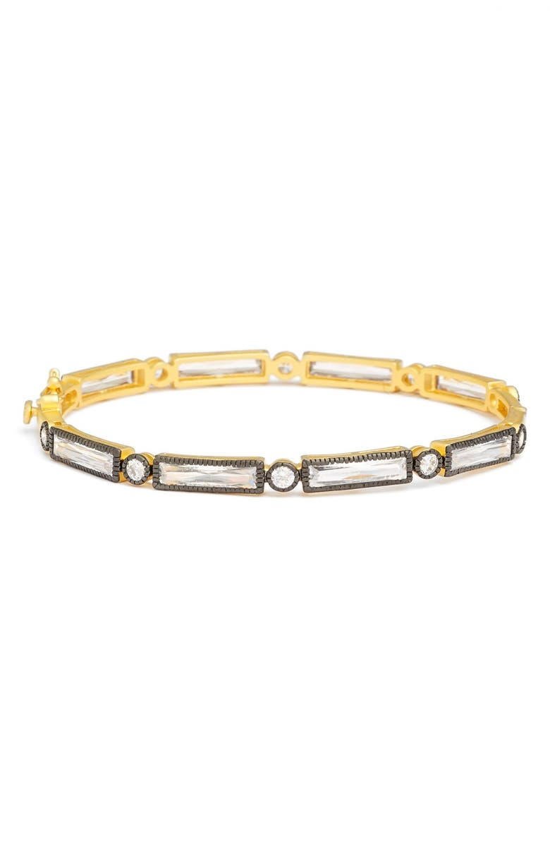 FREIDA ROTHMAN Two Tone Baguette Crystal Bracelet, Main, color, BLACK/ GOLD
