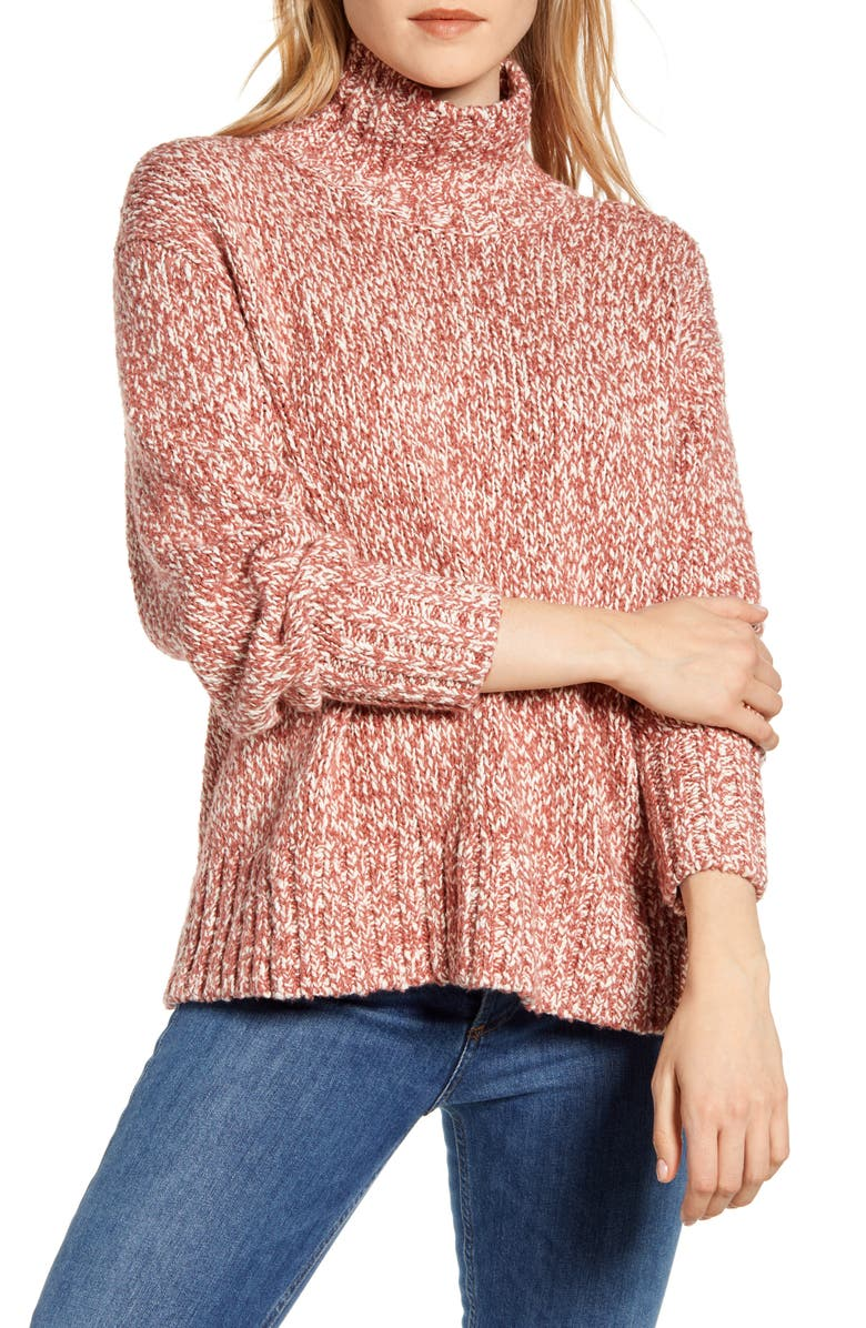 LOU & GREY Marled Knit Turtleneck Tunic Sweater, Main, color, FADED ROUGE