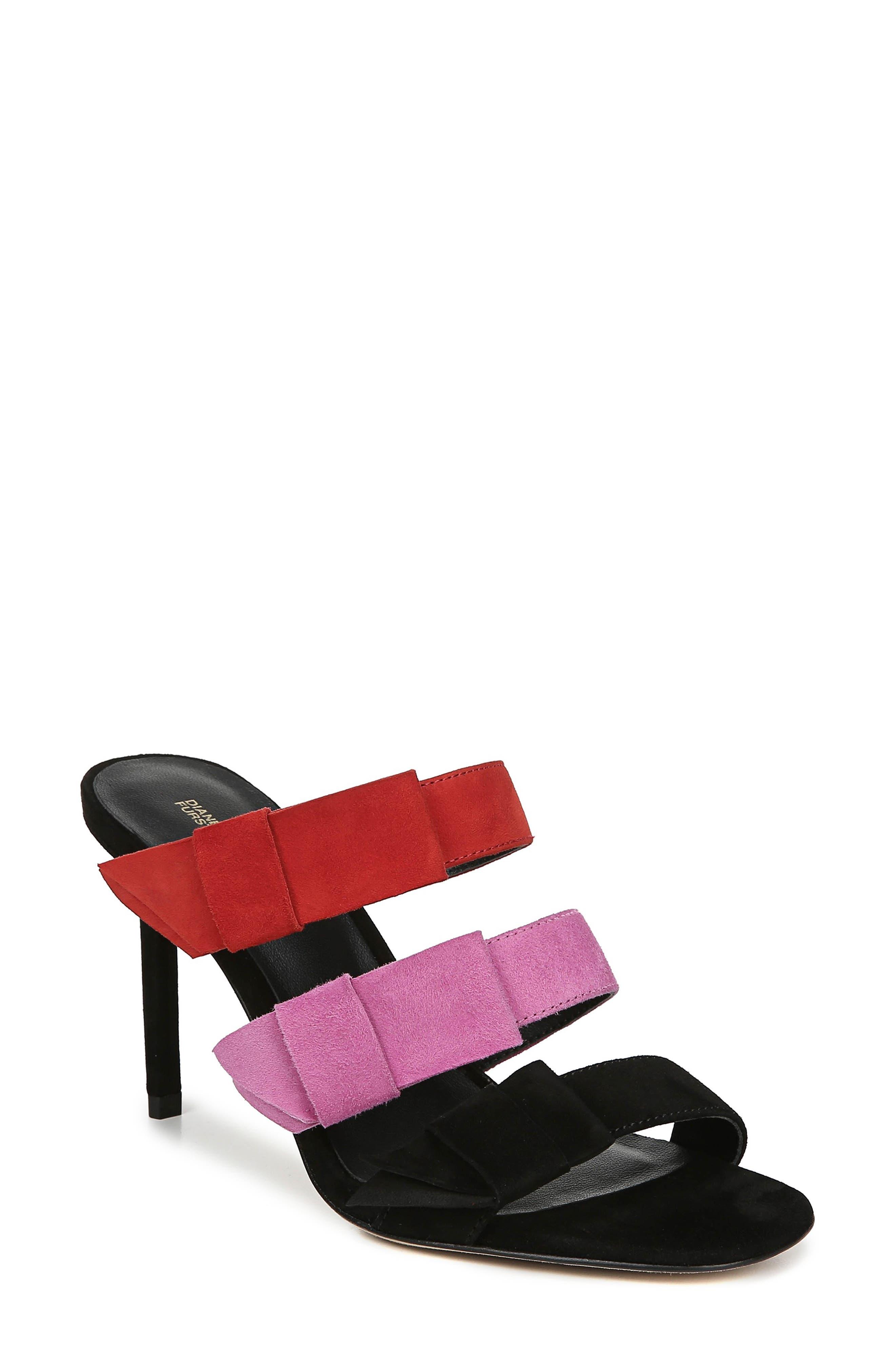 Diane Von Furstenberg Amari Triple Strap Sandal- Red