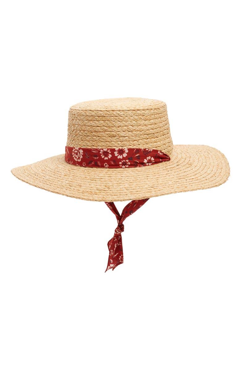 MADEWELL Bandana Trim Straw Hat, Main, color, NATURAL STRAW