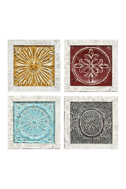 Image of Stratton Home Multi Accent Tile Wall Art     Set of 4