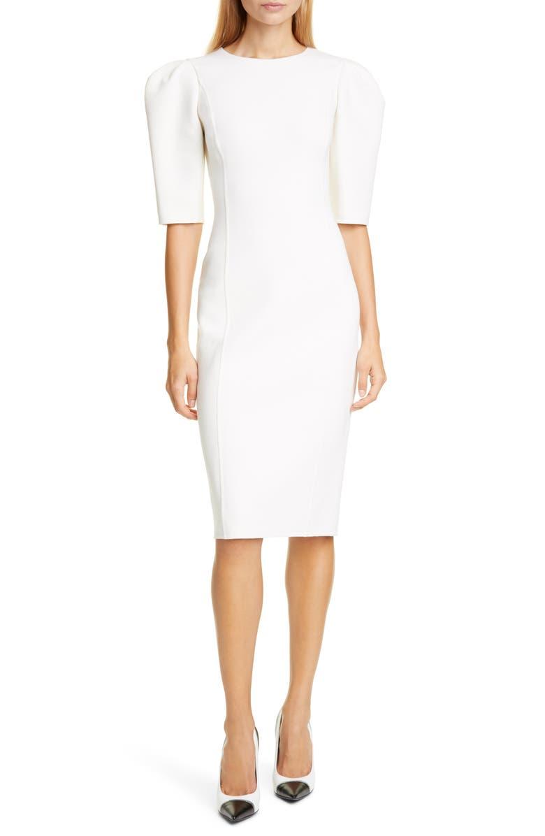 MICHAEL KORS COLLECTION Michael Kors Puff Sleeve Sheath Dress, Main, color, 101
