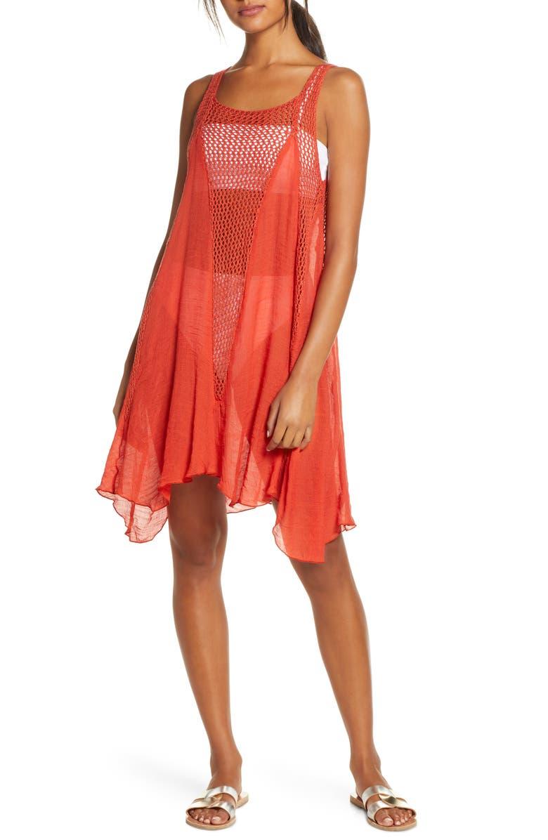 ELAN Crochet Inset Cover-Up Dress, Main, color, 214