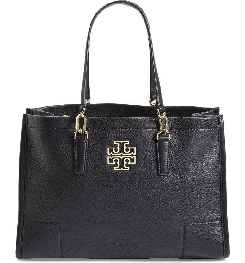 TORY BURCH 'Britten' Leather Tote, Main, color, 001