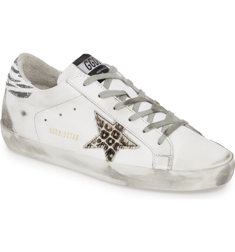 GOLDEN GOOSE Superstar Embellished Sneaker, Main, color, WHITE/ ANIMAL PRINT
