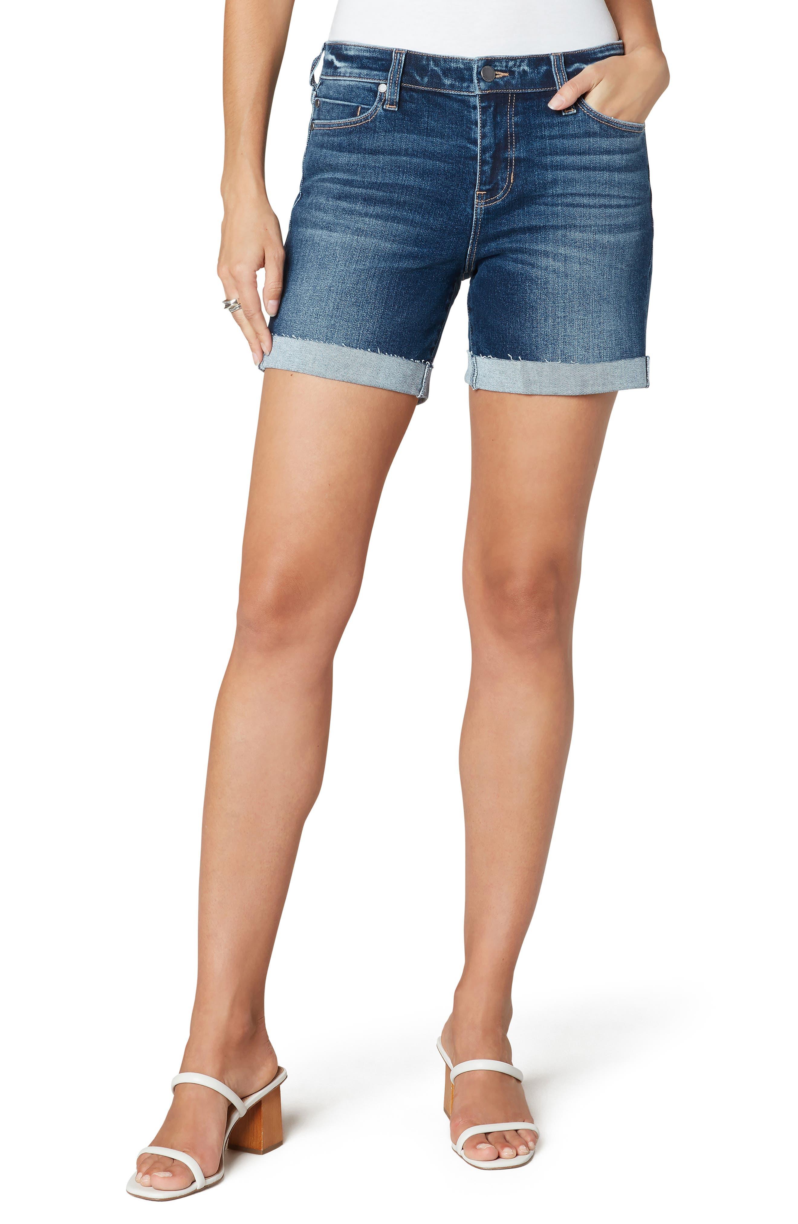 Raw Cuffed Hem Denim Shorts