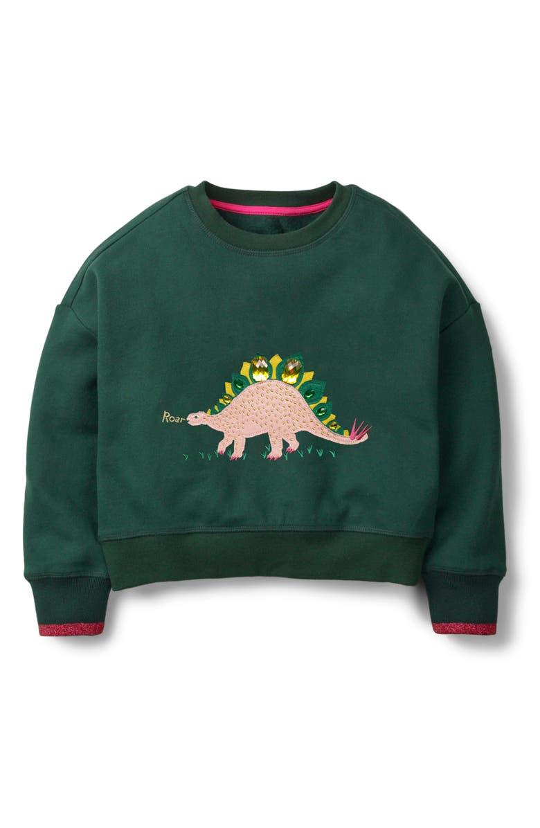 MINI BODEN Embellished Patch Sweatshirt, Main, color, EMRERALD GREEN DINOSAUR