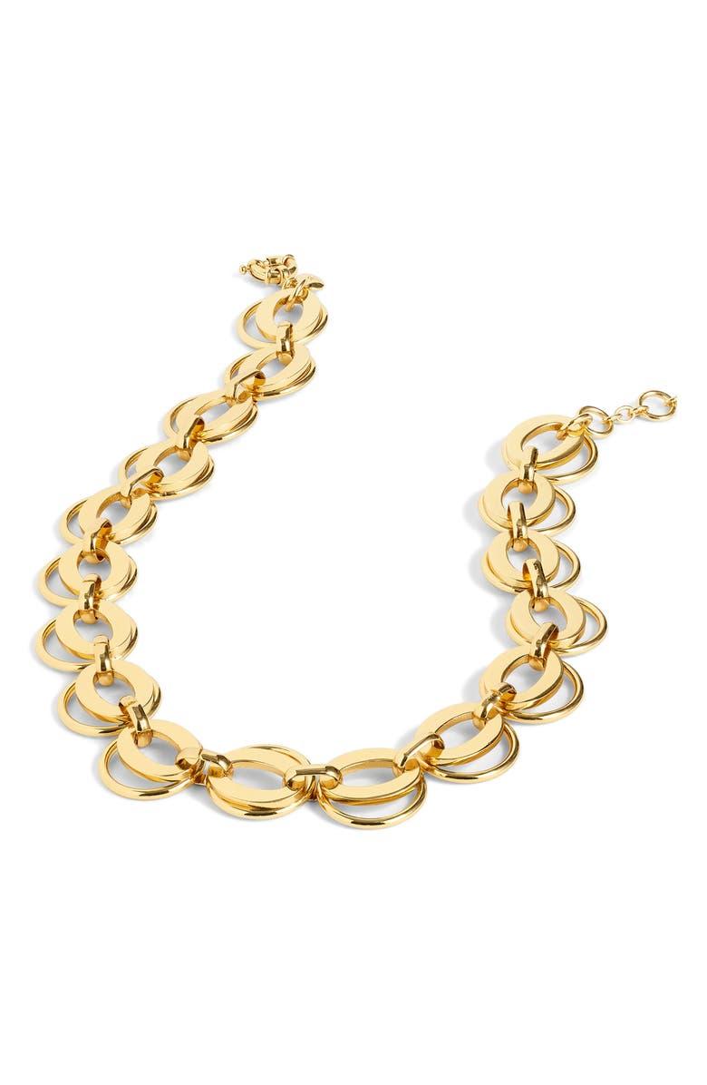 J.CREW Interlocking Loop Link Necklace, Main, color, BURNISHED GOLD