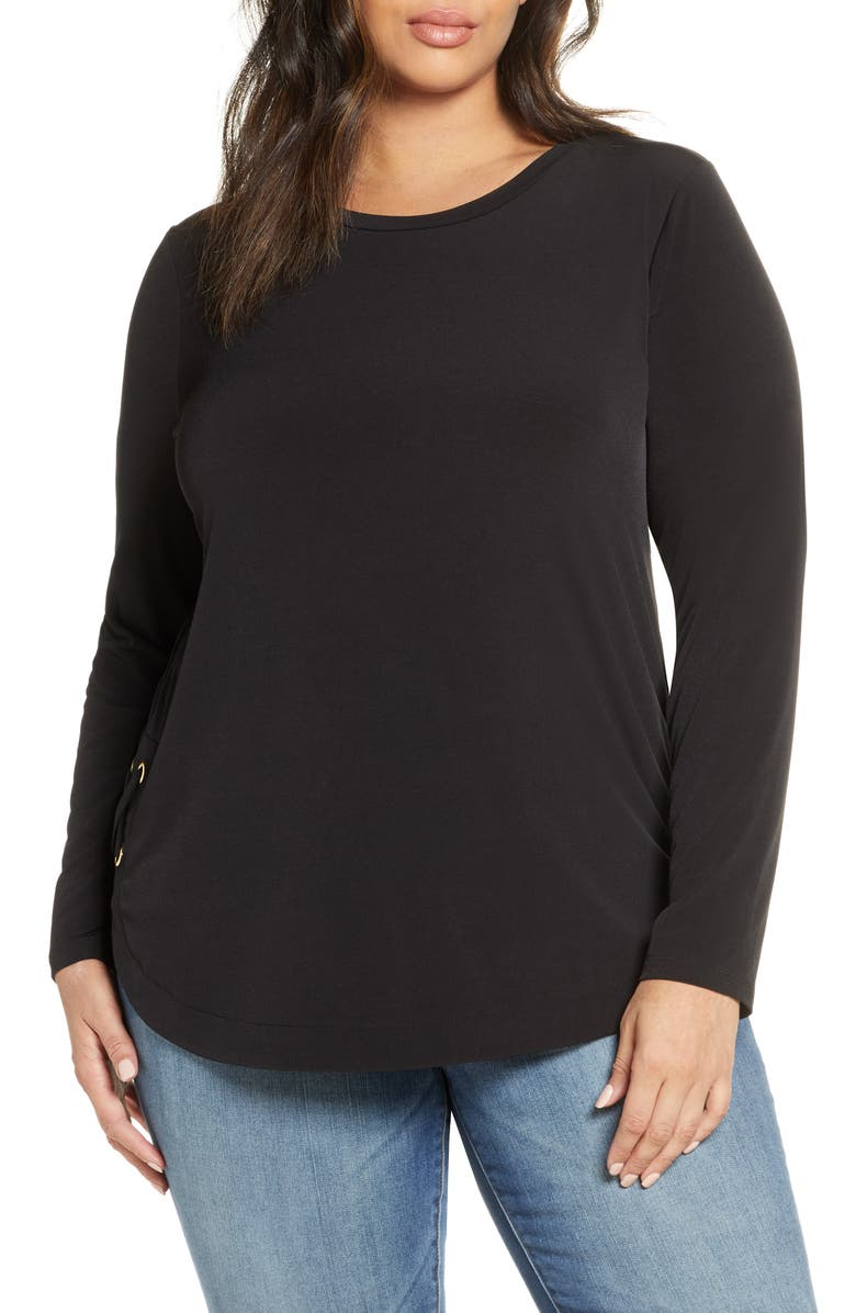 MICHAEL MICHAEL KORS Side Lace-Up Top, Main, color, BLACK