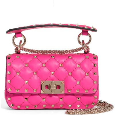 Valentino Garavani Mini Spike It Rockstud Neon Leather Shoulder Bag - Pink