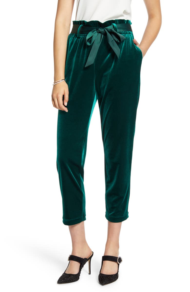 HALOGEN<SUP>®</SUP> Paperbag Waist Velour Ankle Pants, Main, color, GREEN BOTANICAL