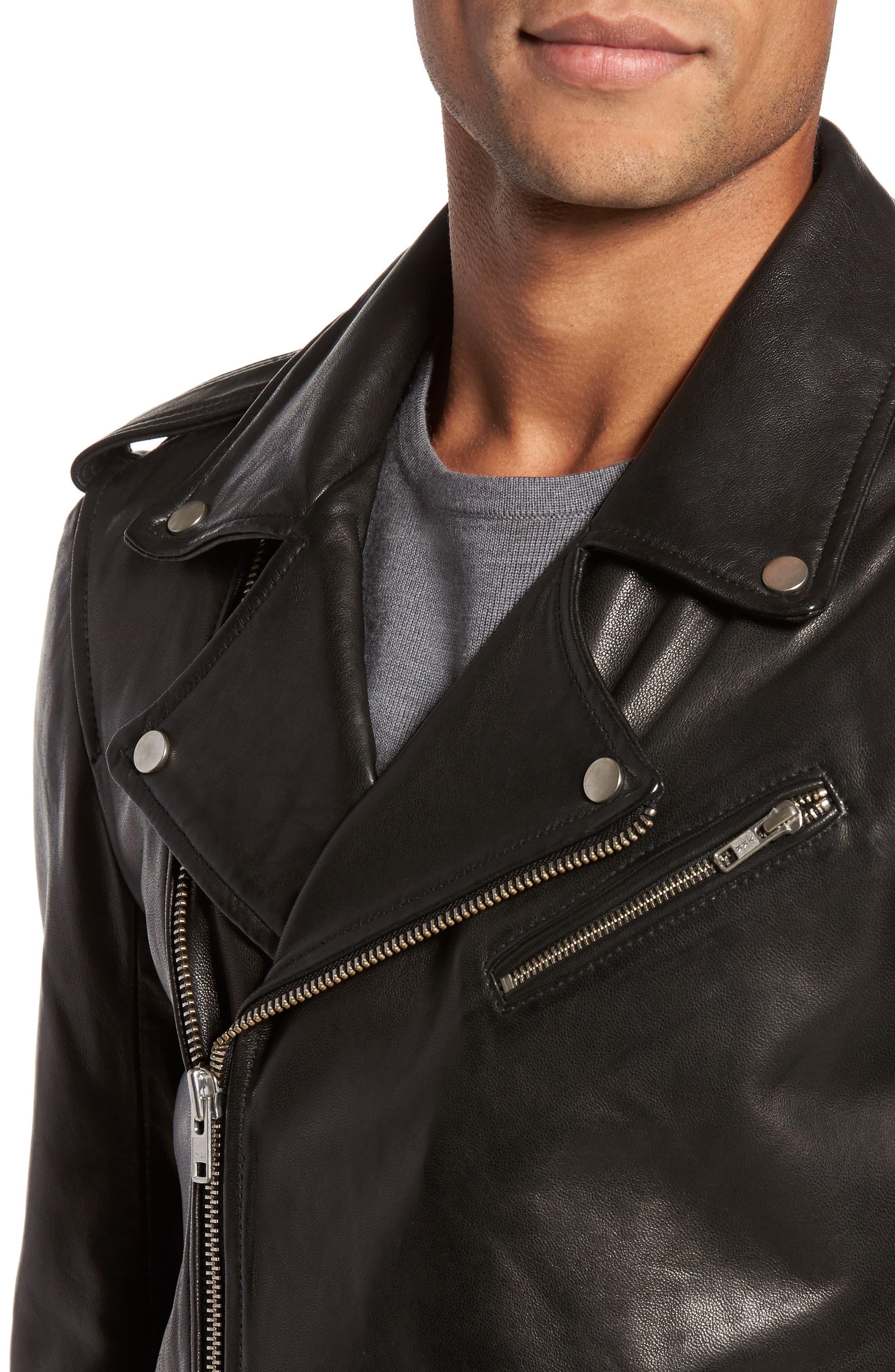 ,                             Leather Biker Jacket,                             Alternate thumbnail 4, color,                             BLACK