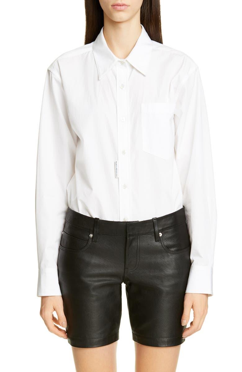ALEXANDER WANG Poplin Shirt Bodysuit, Main, color, WHITE