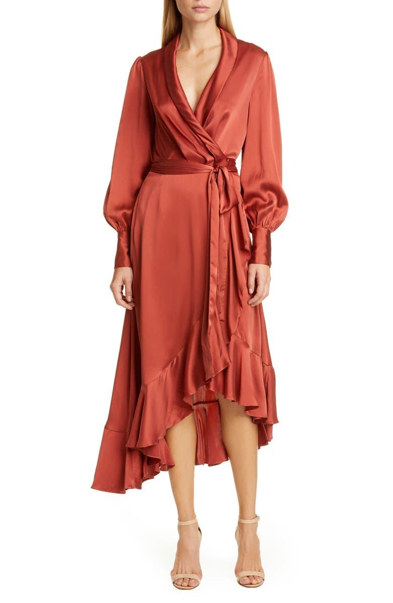 ZIMMERMANN Espionage Long Sleeve Silk Wrap Dress, Main, color, 600