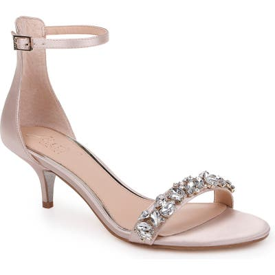 Jewel Badgley Mischka Dash Embellished Halo Strap Sandal- Ivory