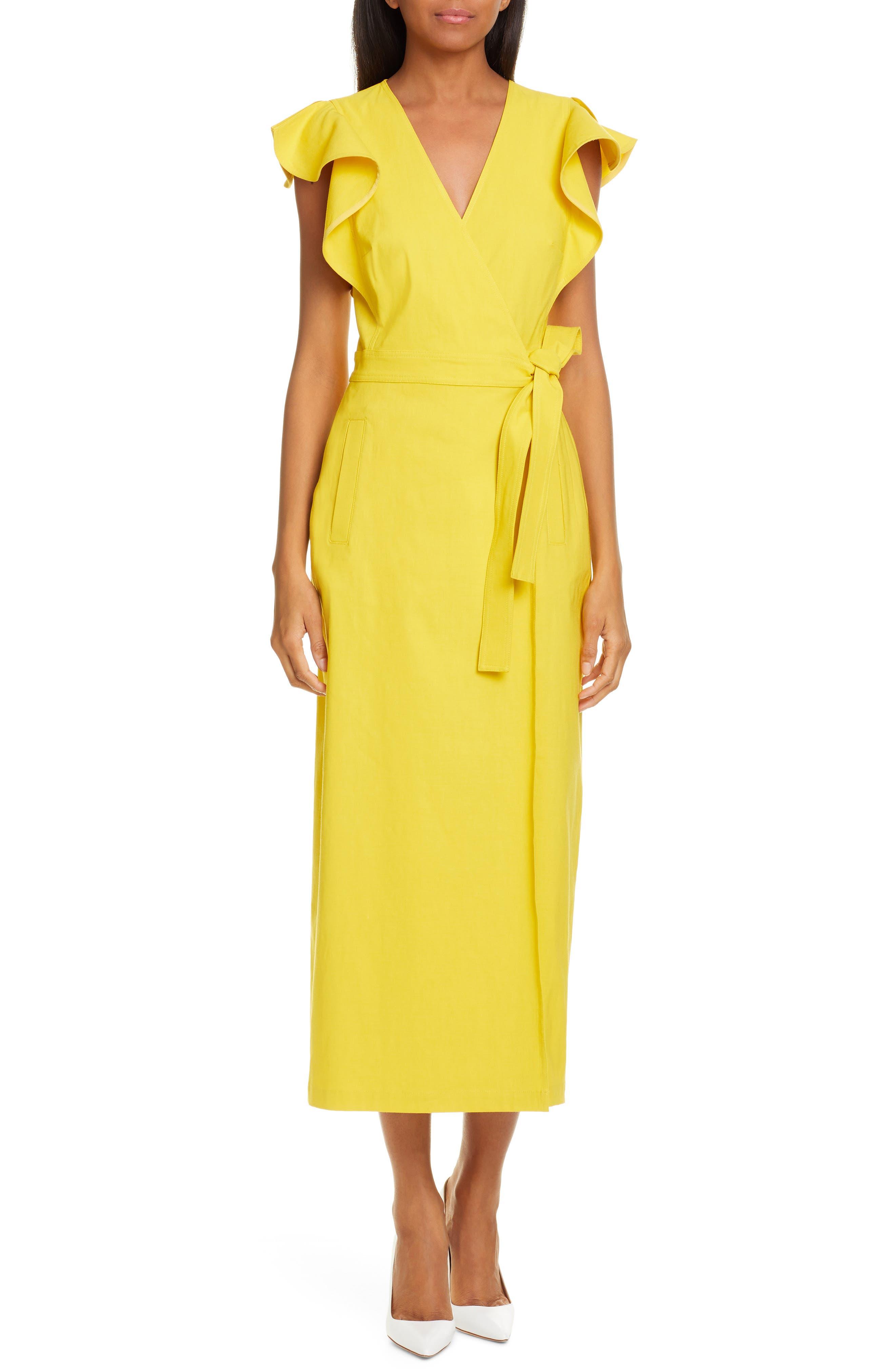 A.l.c. Walker Midi Wrap Dress, Yellow