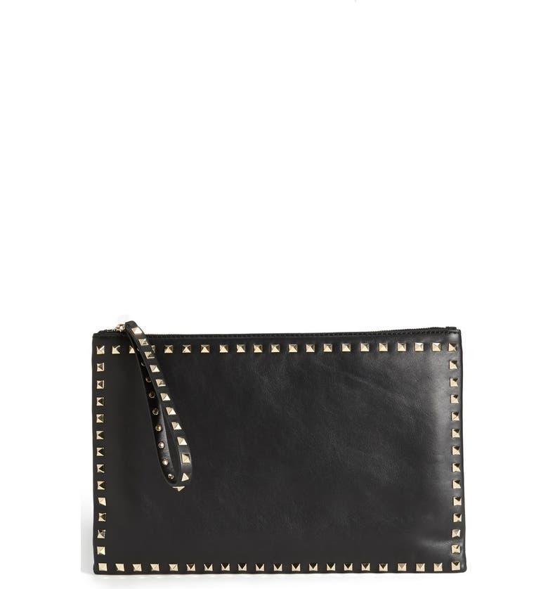 VALENTINO 'Rockstud - Flat' Nappa Leather Clutch, Main, color, 001