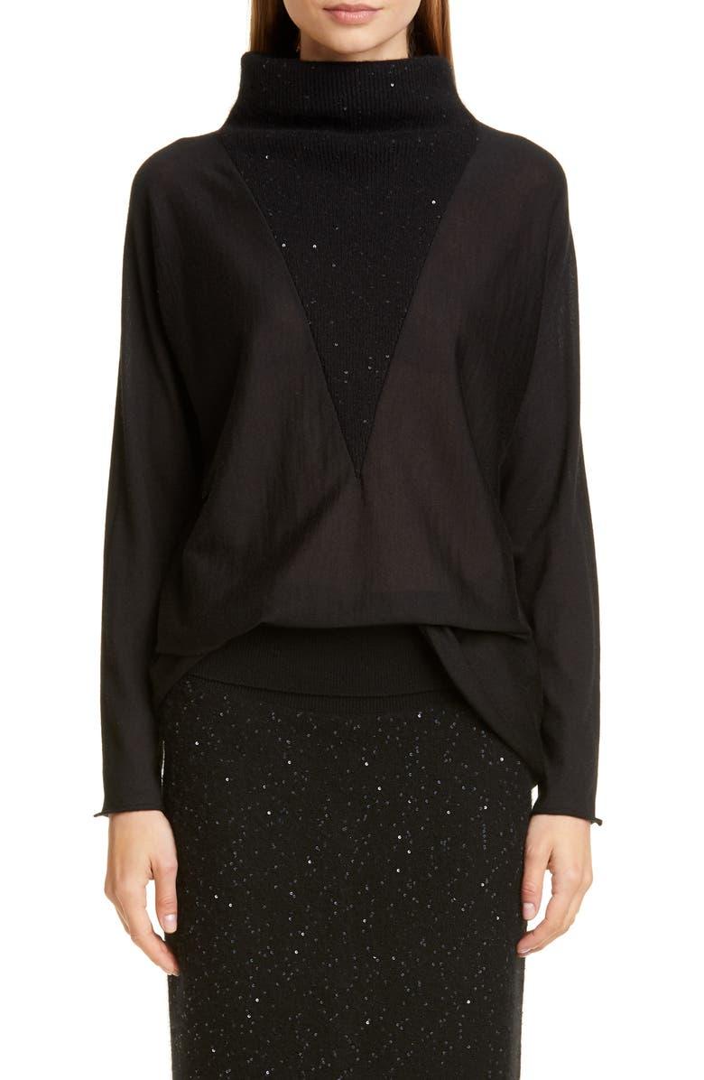 FABIANA FILIPPI Sequin Inset Sweater, Main, color, 001