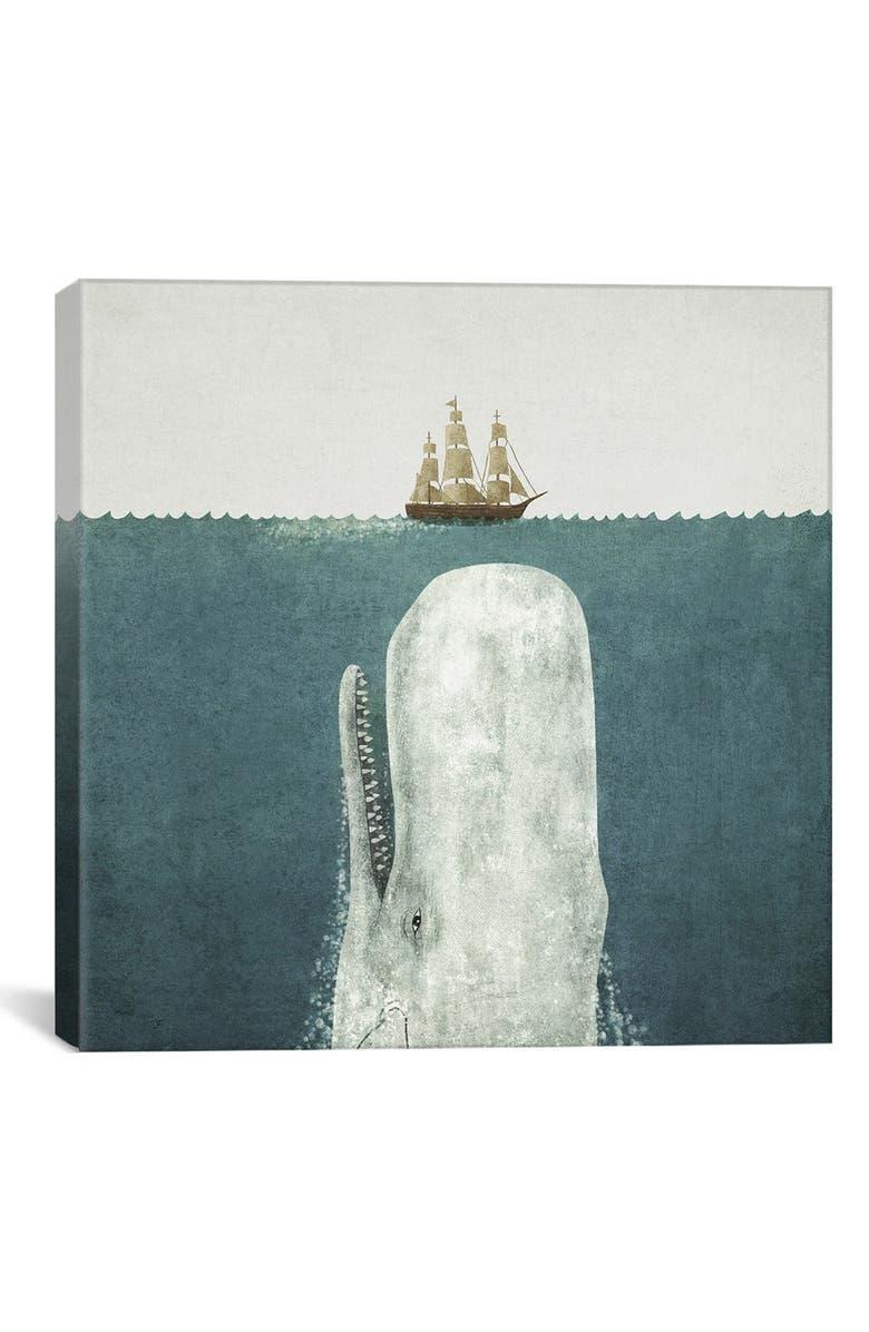 ICANVAS 'White Whale Square - Terry Fan' Giclée Print Canvas Art, Main, color, GREY