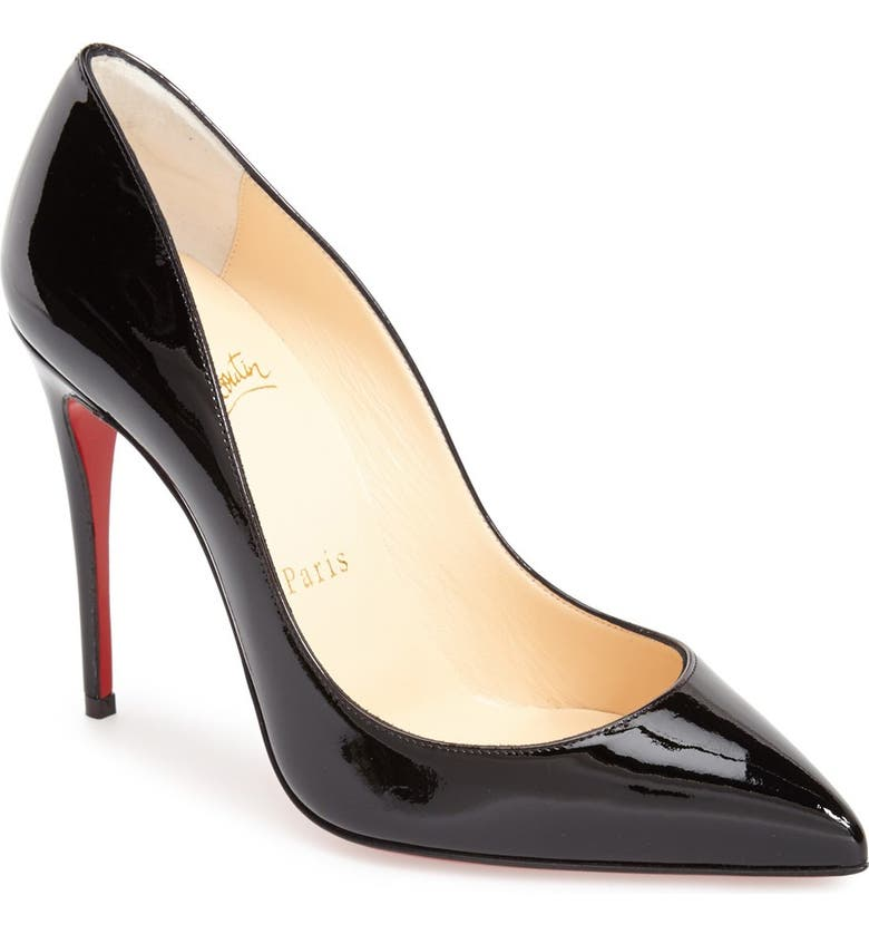 CHRISTIAN LOUBOUTIN Pigalle Follies Pointy Toe Pump, Main, color, BLACK PATENT
