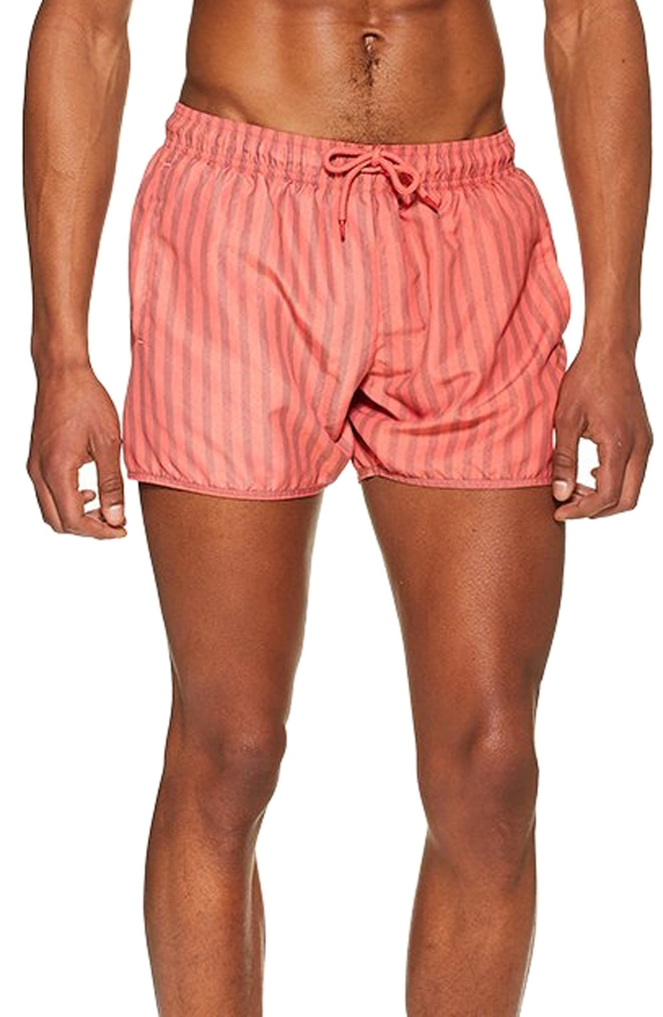Topman Stripe Swim Shorts, Orange