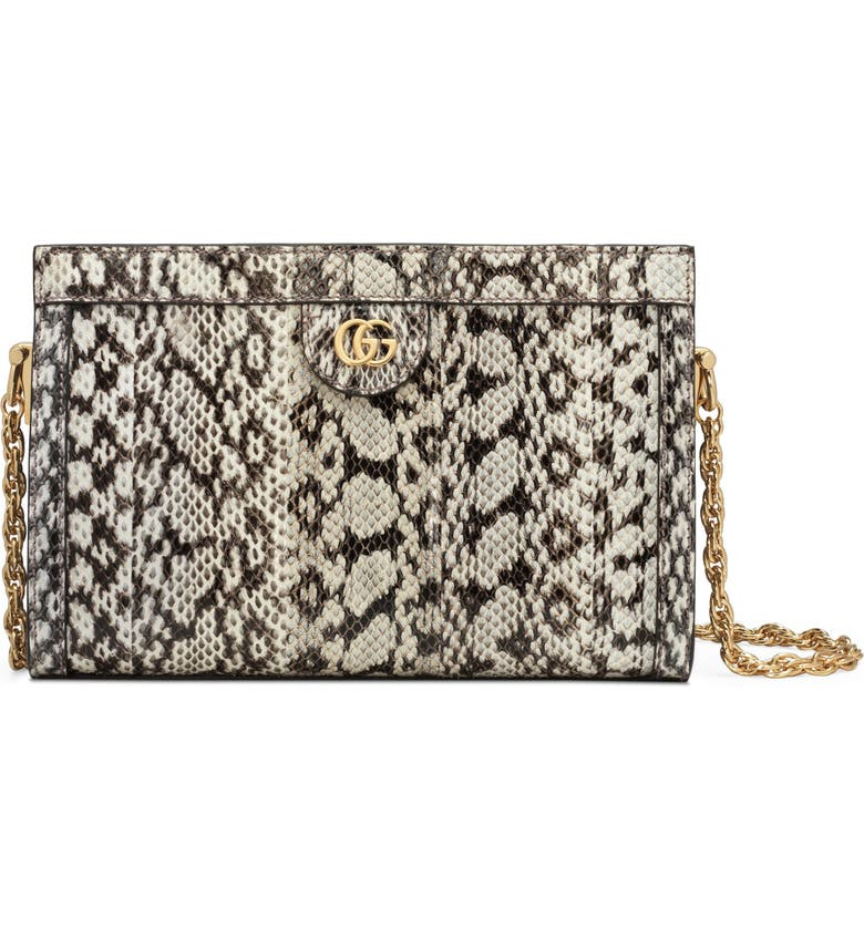 GUCCI Small Ophidia Genuine Snakeskin Shoulder Bag, Main, color, ROCCIA