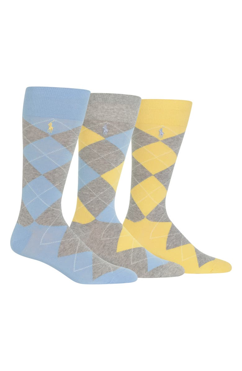 POLO RALPH LAUREN 3-Pack Argyle Socks, Main, color, LIGHT BLUE