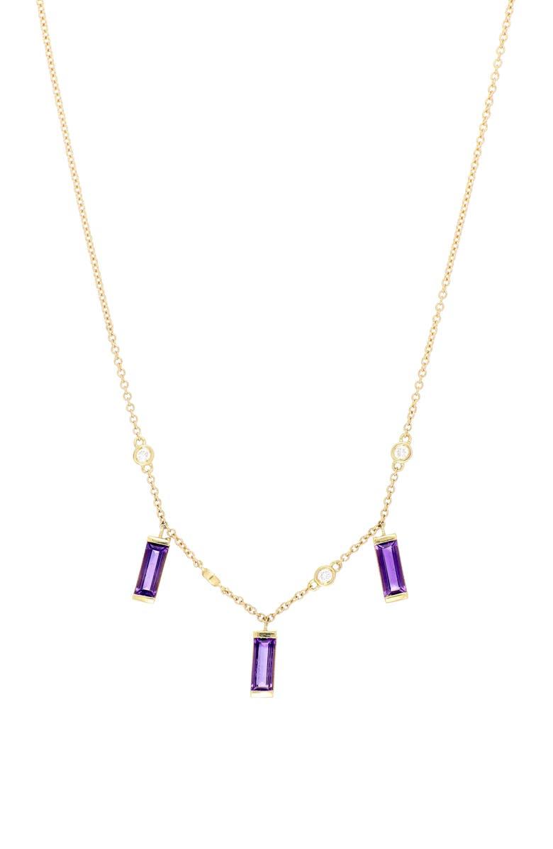 BONY LEVY Amethyst Triple Drop Necklace, Main, color, YELLOW GOLD/ AMETHYST
