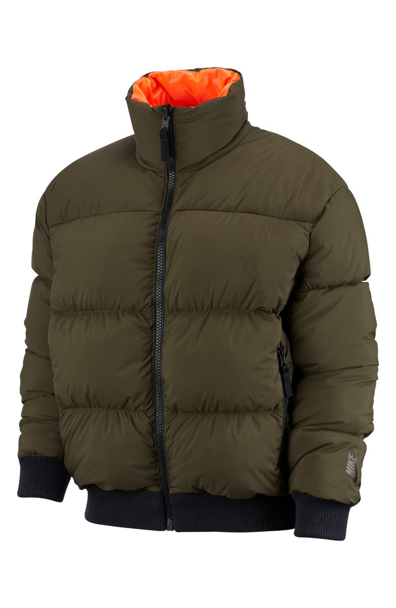 NIKE NRG Reversible Down Fill Puffer Jacket, Main, color, CARGO KHAKI/ CRIMSON/ BLACK