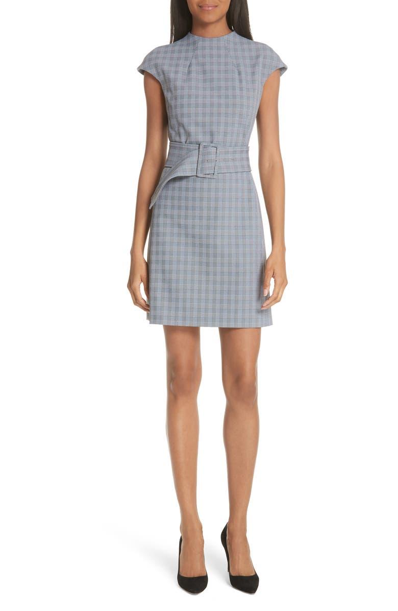 THEORY McClair Plaid Mod Belted Sheath Dress, Main, color, 009