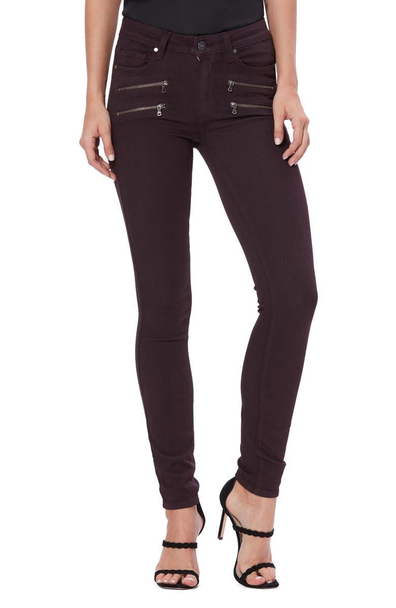 PAIGE Transcend - Edgemont High Waist Skinny Jeans, Main, color, DEEP VINO