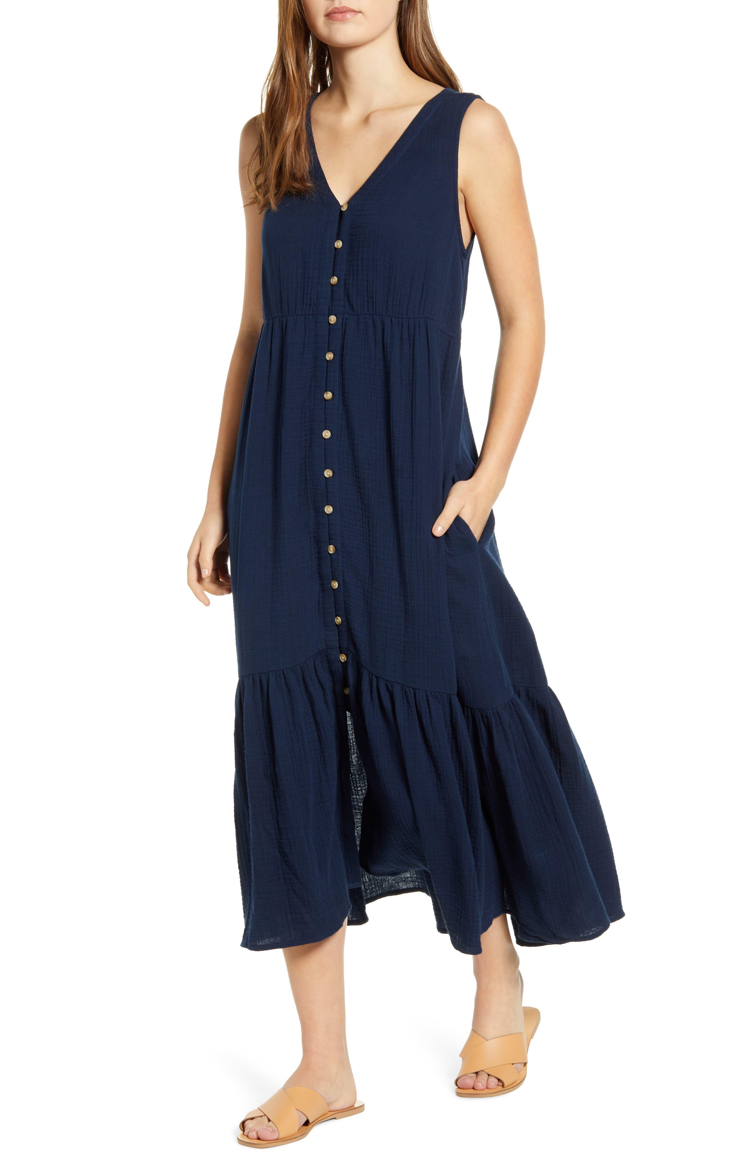 Lexa Sleeveless Cotton Double Cloth Midi Dress
