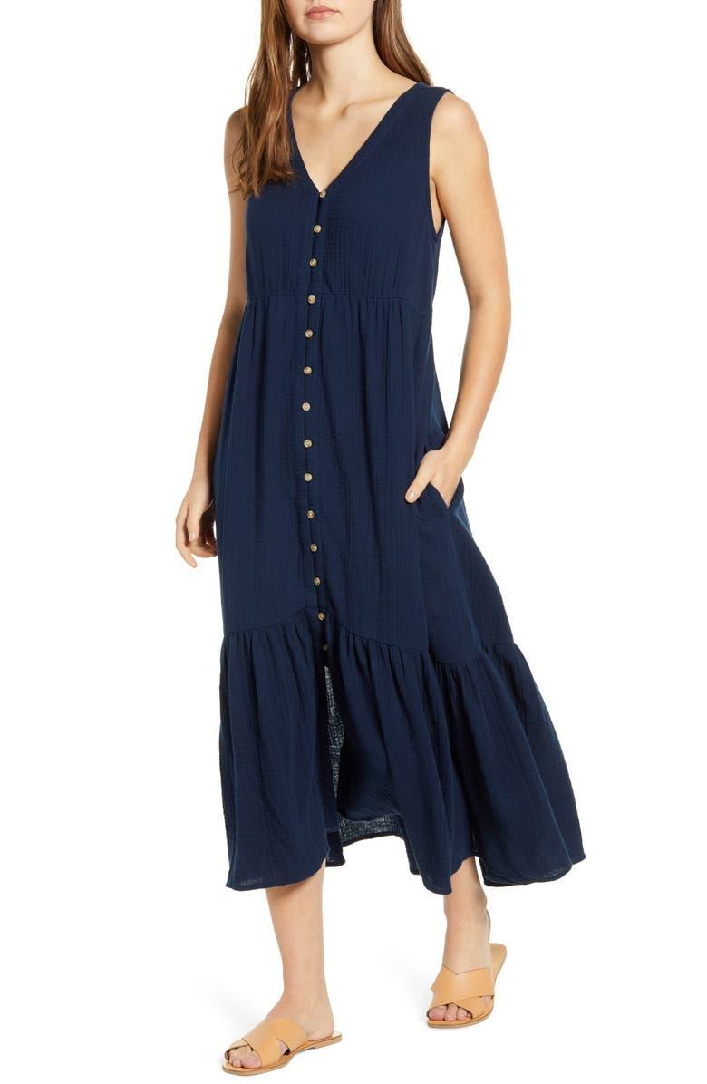 BEACHLUNCHLOUNGE Lexa Sleeveless Cotton Double Cloth Midi Dress, Main, color, NAVY