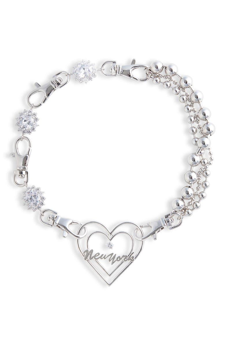 JIWINAIA New York Heart Triple Chain Necklace, Main, color, RHODIUM
