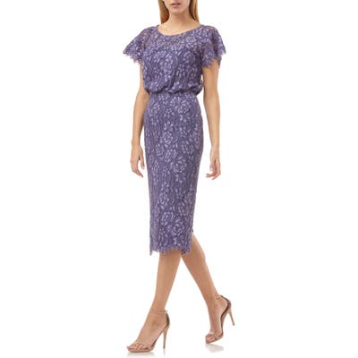 Js Collections Embroidered Lace Blouson Cocktail Dress, Purple