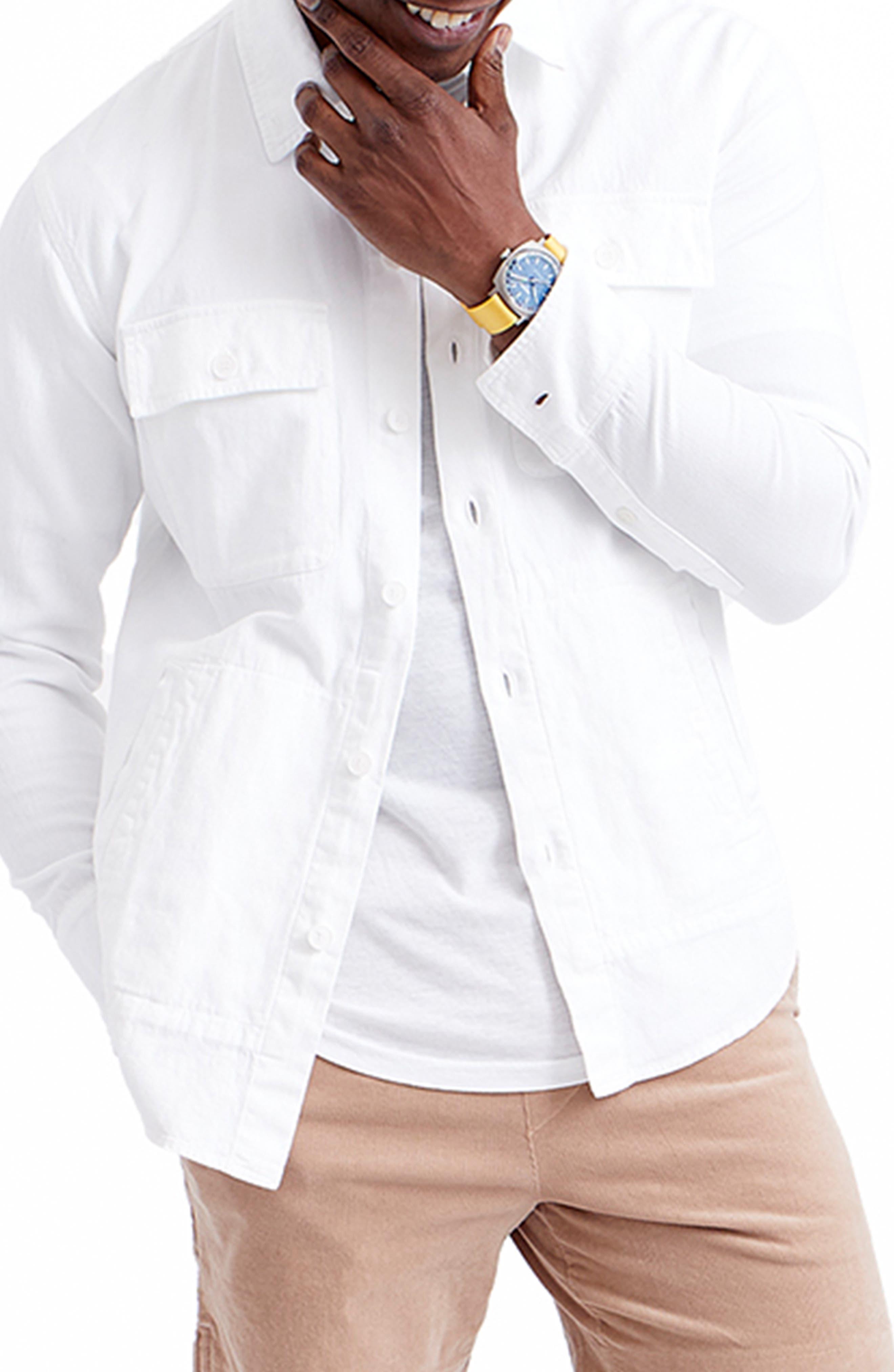 Cotton & Linen Blend Shirt Jacket