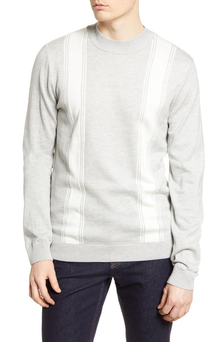 TOPMAN Stripe Mock Neck Sweater, Main, color, GREY MULTI