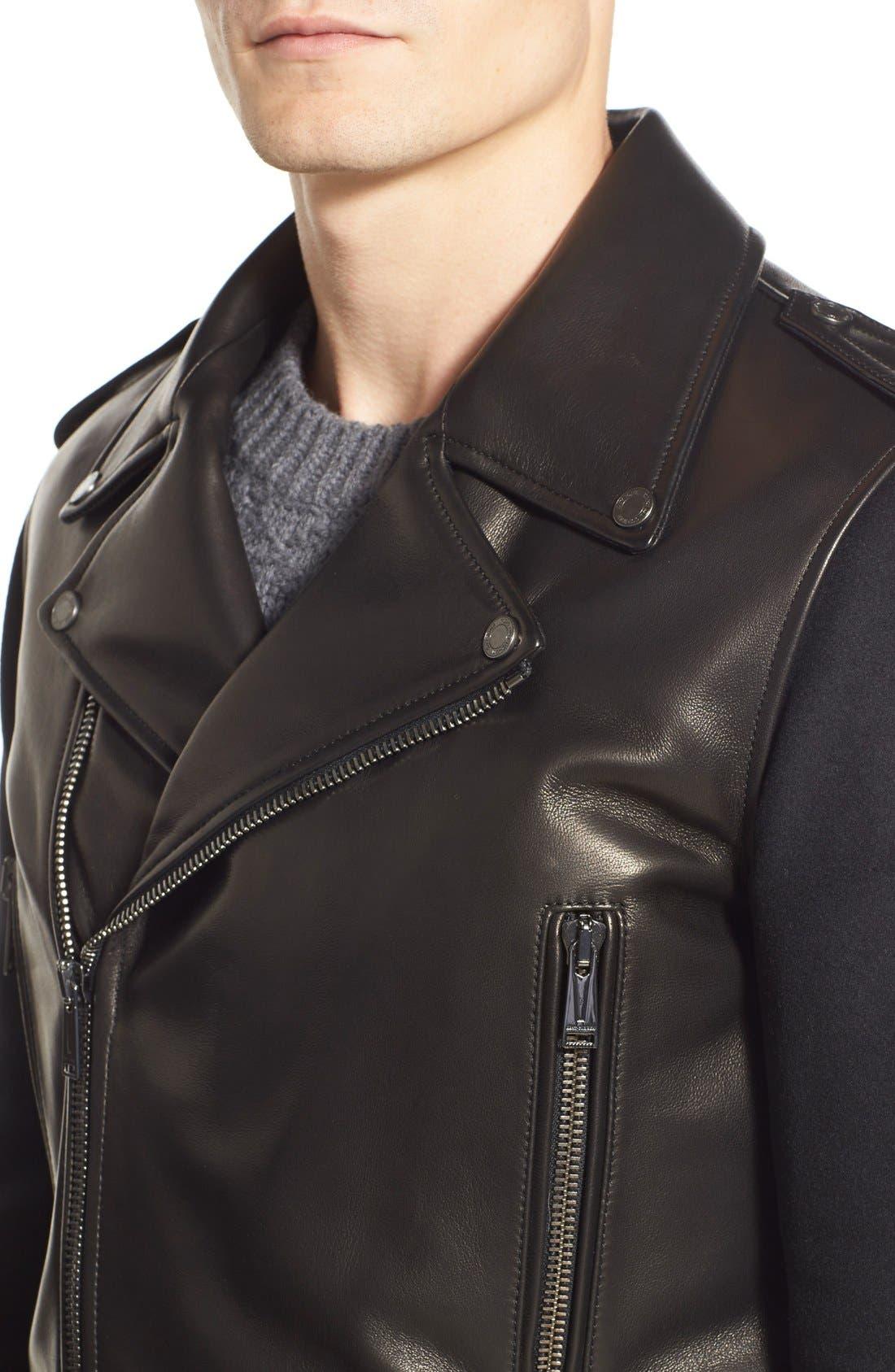 ,                             Melton Sleeve Leather Jacket,                             Alternate thumbnail 6, color,                             001