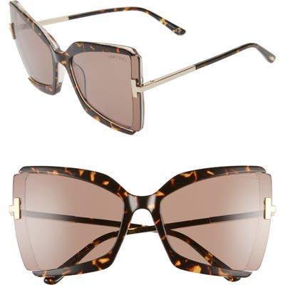 Tom Ford Gia 6m Oversize Butterfly Sunglasses - Dark Havana/ Roviex